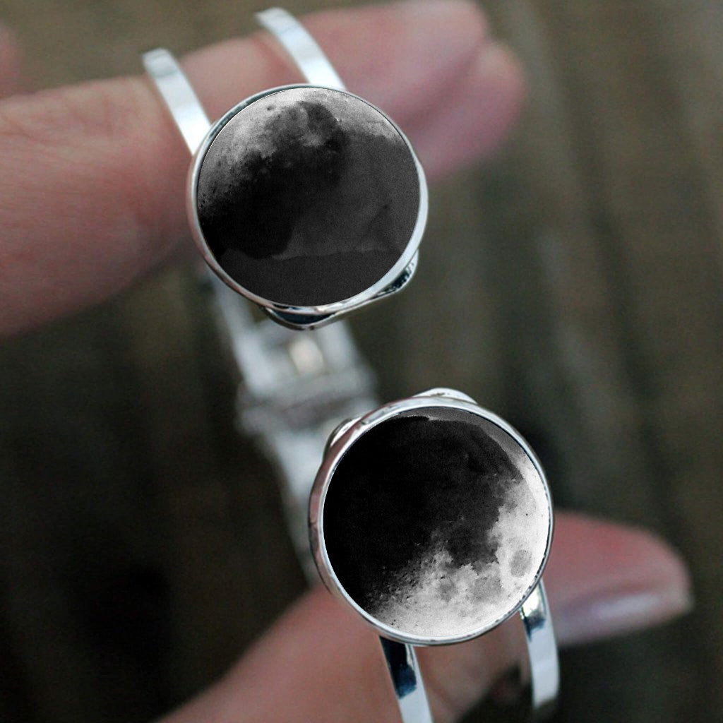 Silver Hinged 2 Moon Bracelet - Custom Moon Phase from Specific Date, Birthday, Anniversary, Memorial - Mothers Day Gift for Mom of Twins - Two Children, Gift for Wife, 2 Moon dates - Handmade lunar phase galaxy jewelry by Yugen Tribe