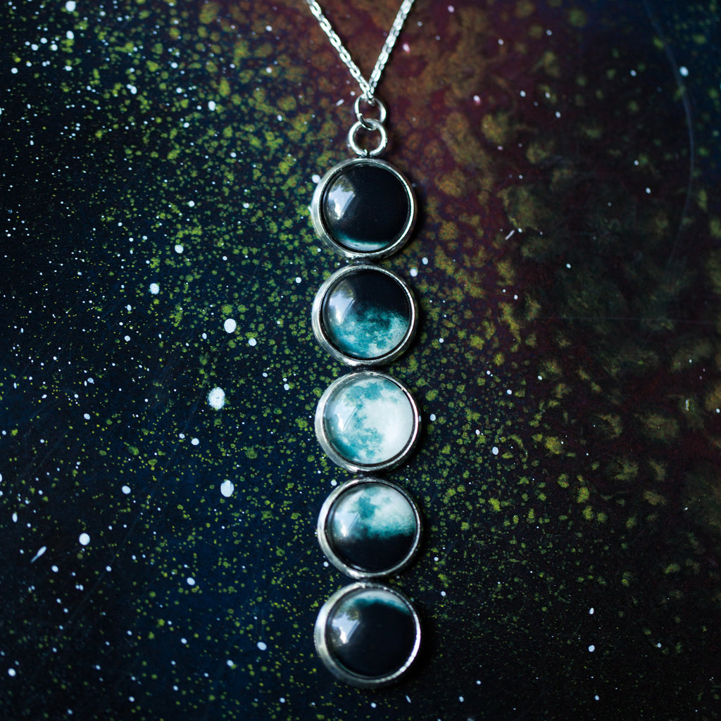 Phases of the Moon Pendant Necklace - Silver Lunar Phase Necklace with 5 moon phases - Astronomy galaxy new age jewelry by yugen tribe