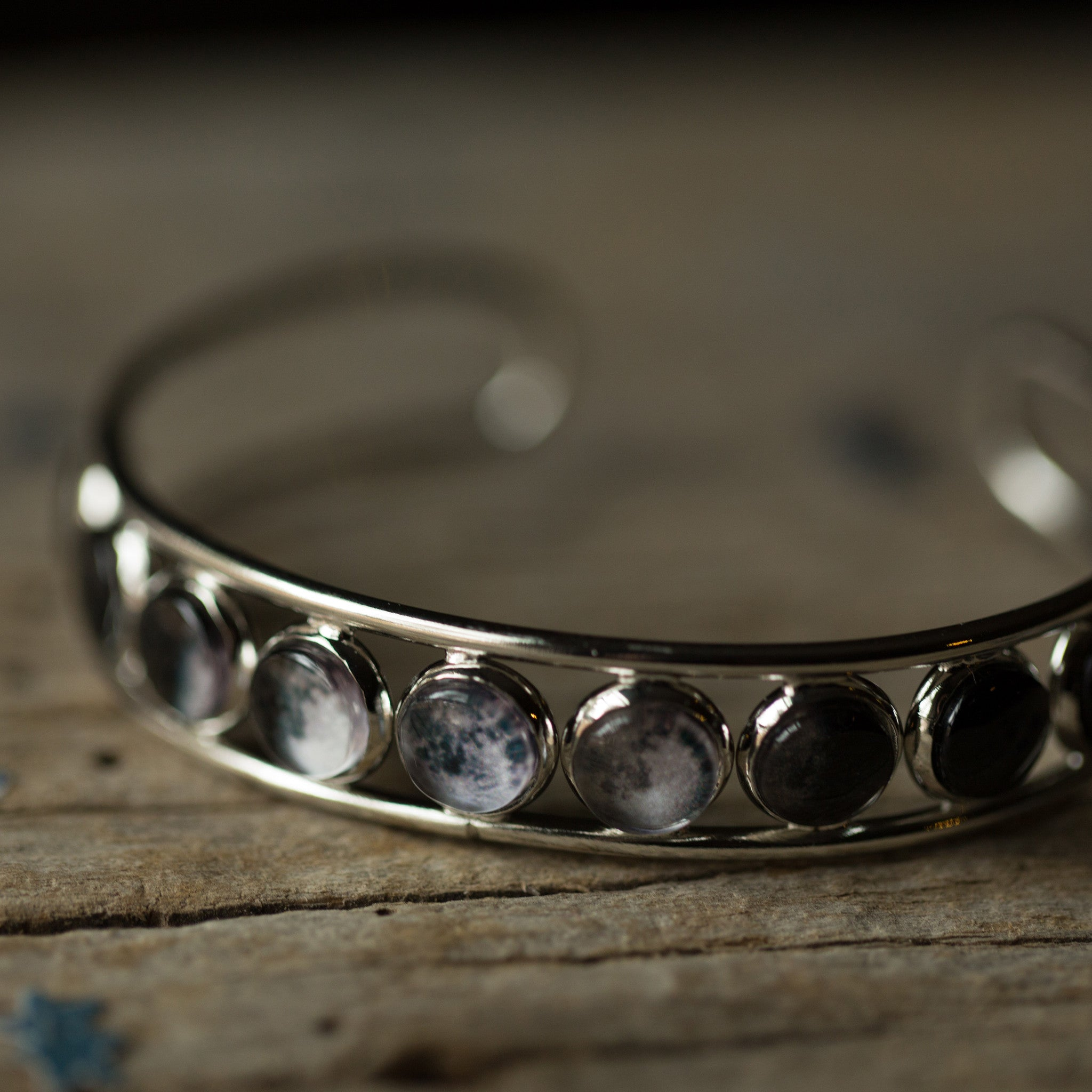 Moon phase cuff bangle bracelet - 9 lunar phases - galaxy outer space astronomy jewelry by Yugen Tribe, handmade, designed, and owned by women