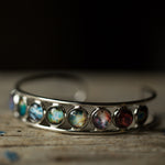 Rainbow Nebula Simple Silver Bezel Cuff Bracelet - LGBTQIA Pride Astronomy Jewelry, handmade by Yugen Tribe - women owned business, STEM fashion