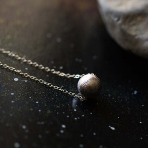 Simple natural meteorite necklace - Gibeon meteorite bead pendant plated in white gold - Yugen Tribe outer space galaxy jewelry with natural meteor