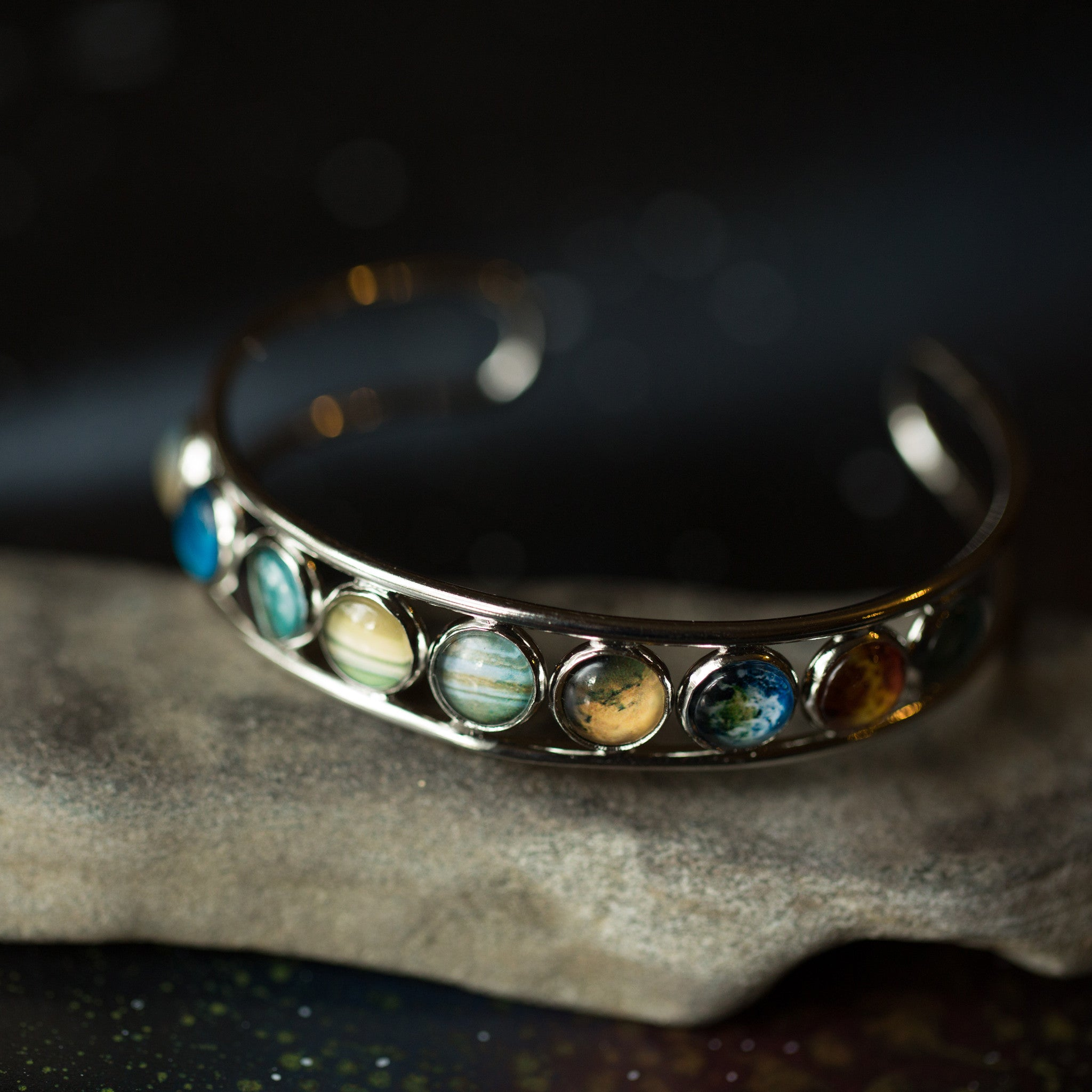 Silver Solar System Bangle Cuff Bracelet with aligned bezels - Features 9 planets including pluto - milky way galaxy bracelet in silver tone, astronomy jewellery by yugentribe
