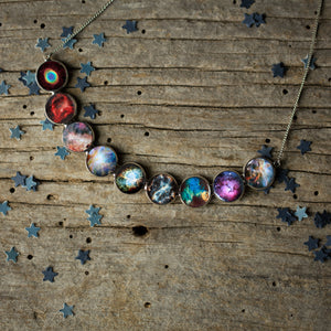 Nebula Rainbow Necklace in Silver - Curved Bib Pendant - Yugen Tribe