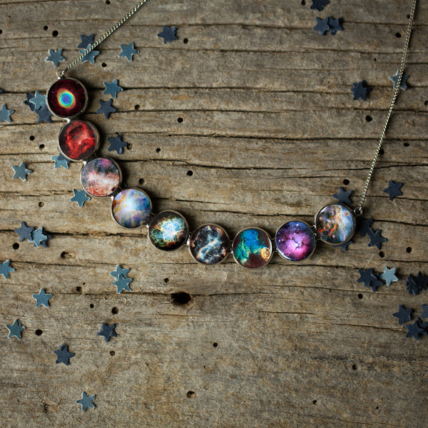 Nebula Rainbow Necklace in Silver - Curved Bib Pendant