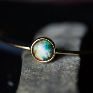 Galaxy Bangles with Bezel Setting in Gold or Silver - Choose your galaxy, nebula, planet, cosmic image from outer space - Hubble STEM astronomy fashion - shown in gold tone with orion nebula