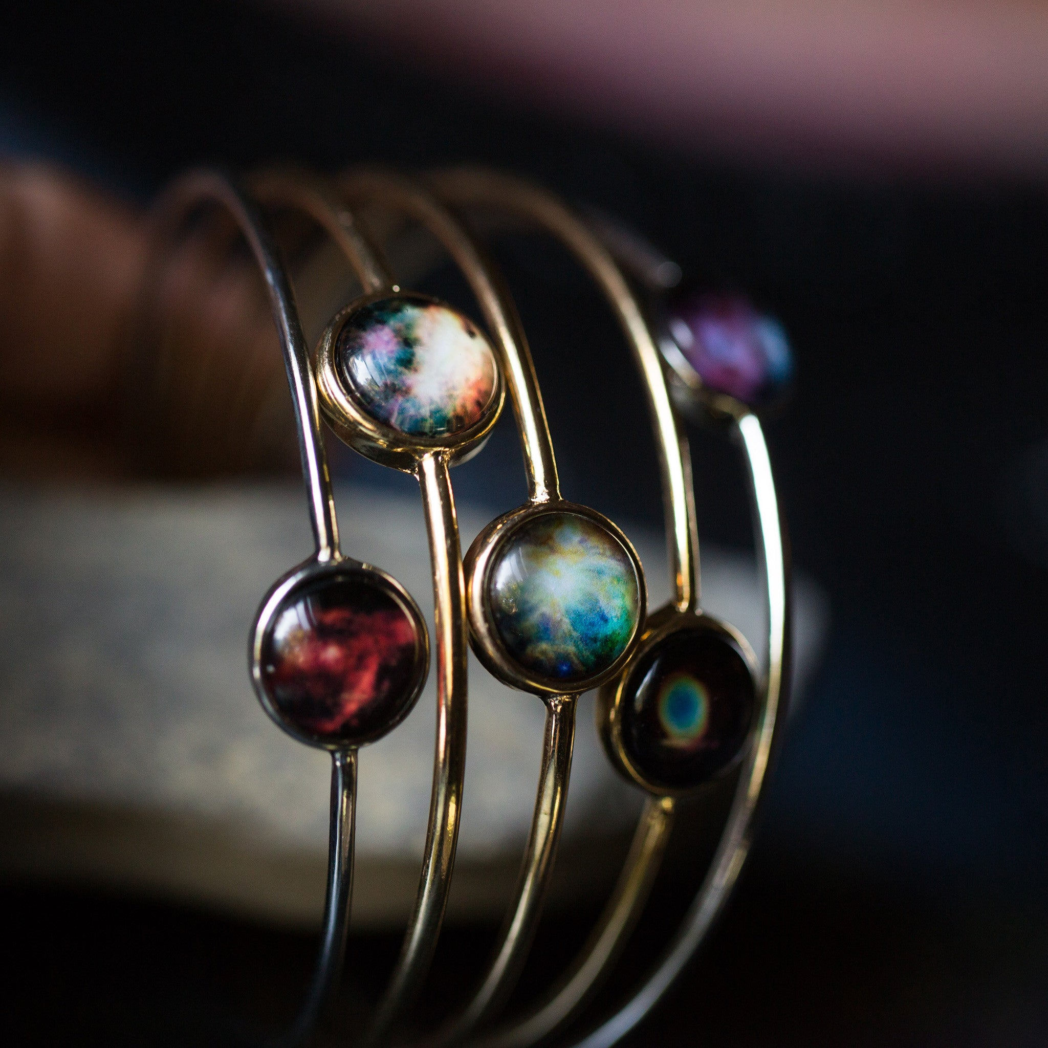 Galaxy Bangles with Bezel Setting in Gold or Silver - Choose your galaxy, nebula, planet, cosmic image from outer space - Hubble STEM astronomy fashion - shown as a stacked set of bracelets