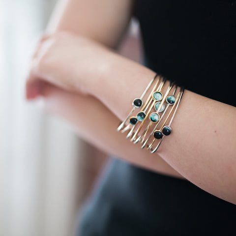 Moon Phase Stacked Bangle Set