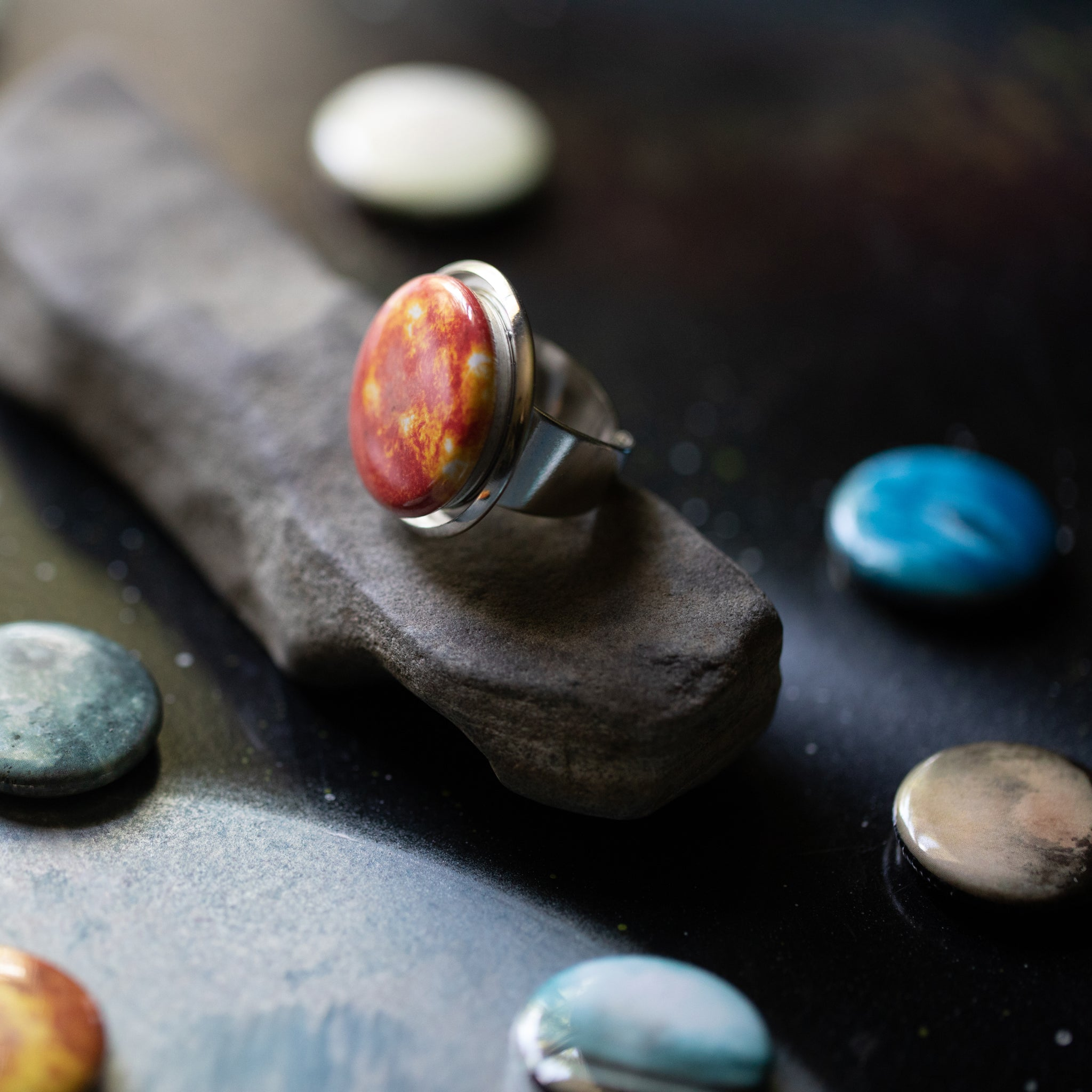 Magnetic Interchangeable Cocktail Ring with the Solar System - 11 Planets, Sun, Moon included - 11 rings in one, jewelry inspired by the cosmos handmade by Yugen Tribe