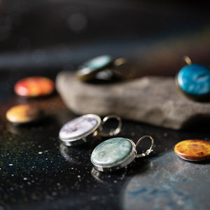 Interchangeable dangle earrings with solar system magnets - Planets, Earth, Mars, Sun, Moon, Mercury, Venus, Jupiter, Saturn, Uranus, Neptune, Pluto - Cosmic galaxy jewellery by Yugen Tribe - available in bronze or silver tone