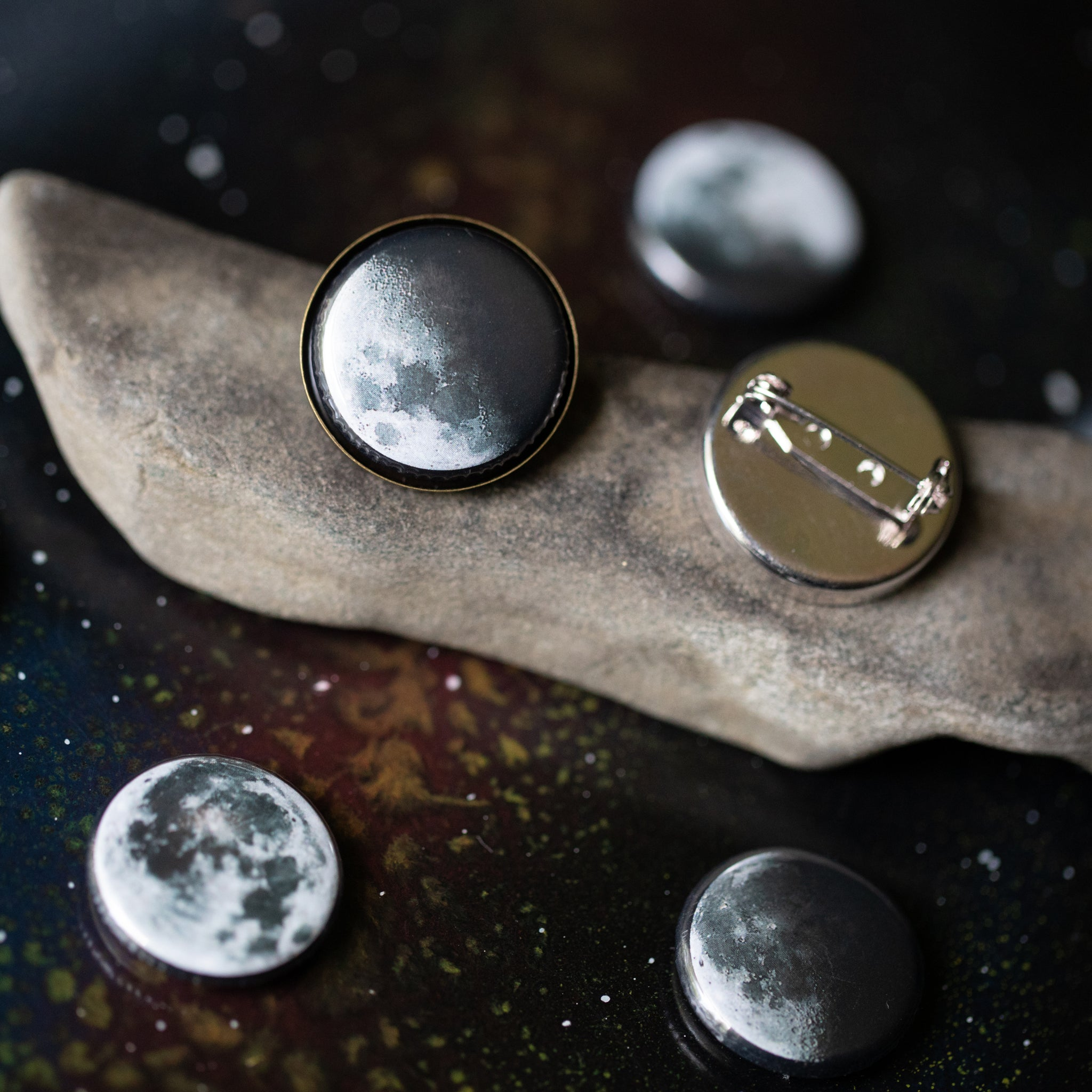 Interchangeable lapel pin brooch with 5 moon phases - Cosmic lunar moon magnetic galaxy jewellery for STEM fashion by Yugen Tribe - gift for men, women, unisex, gender non-comforning, GNB, GNC, non-binary