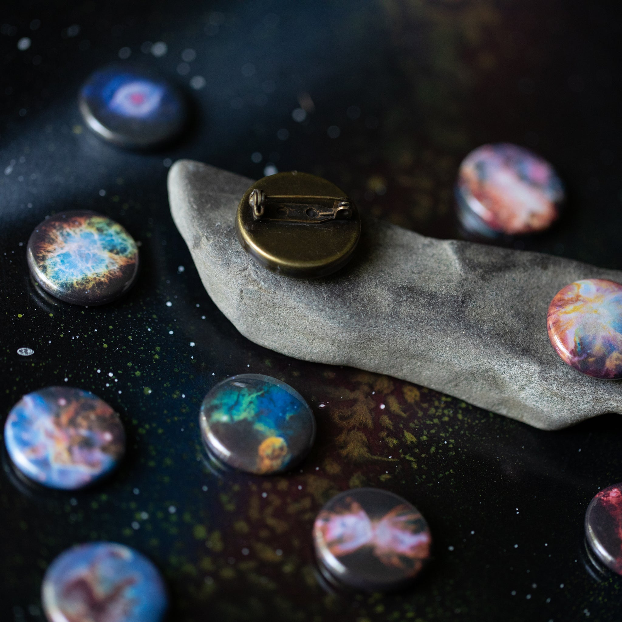 Nebula lapel pin - STEM unisex fashion accessory - Interchangeable brooch with 10 galaxy designs - Outer space cosmic jewelry inspired by the universe and astronomy - handmade by Yugen Tribe