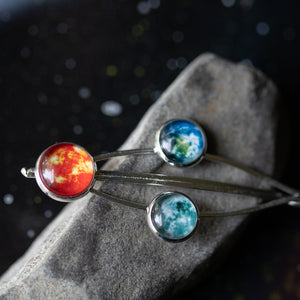 Hair Barrette with Sun, Earth, and Moon - Silver galaxy hair pin, outer space accessories for STEM fashion - astronomy universe inspired celestial gifts by Yugen tribe