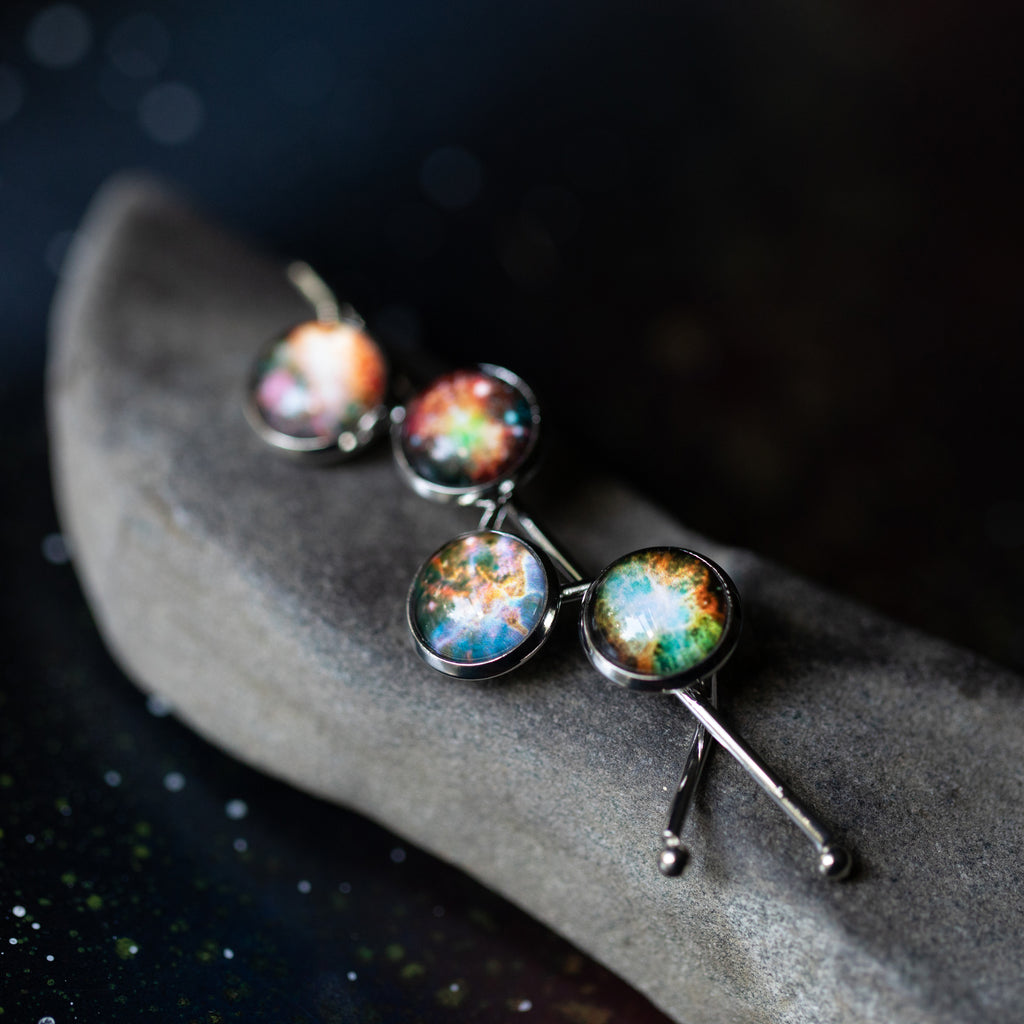 Galaxy Outer Space Hair Pin - Silver Barrette with Omega Nebula, Dumbell Nebula, Carina Nebula, and Crab Nebula - Handmade Universe Hair Accessories for STEM fashion by Yugen Tribe