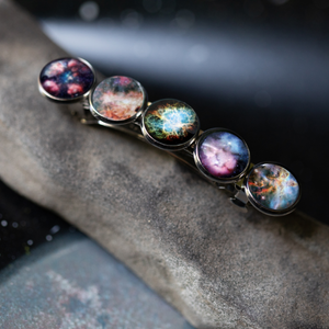 Nebula barrette - Rainbow LGBTQIA galaxy accessory for Pride - Hair Pin with colorful nebulae, cosmic celestial gift for galaxy lover - STEM fashion gifts by Yugen Tribe