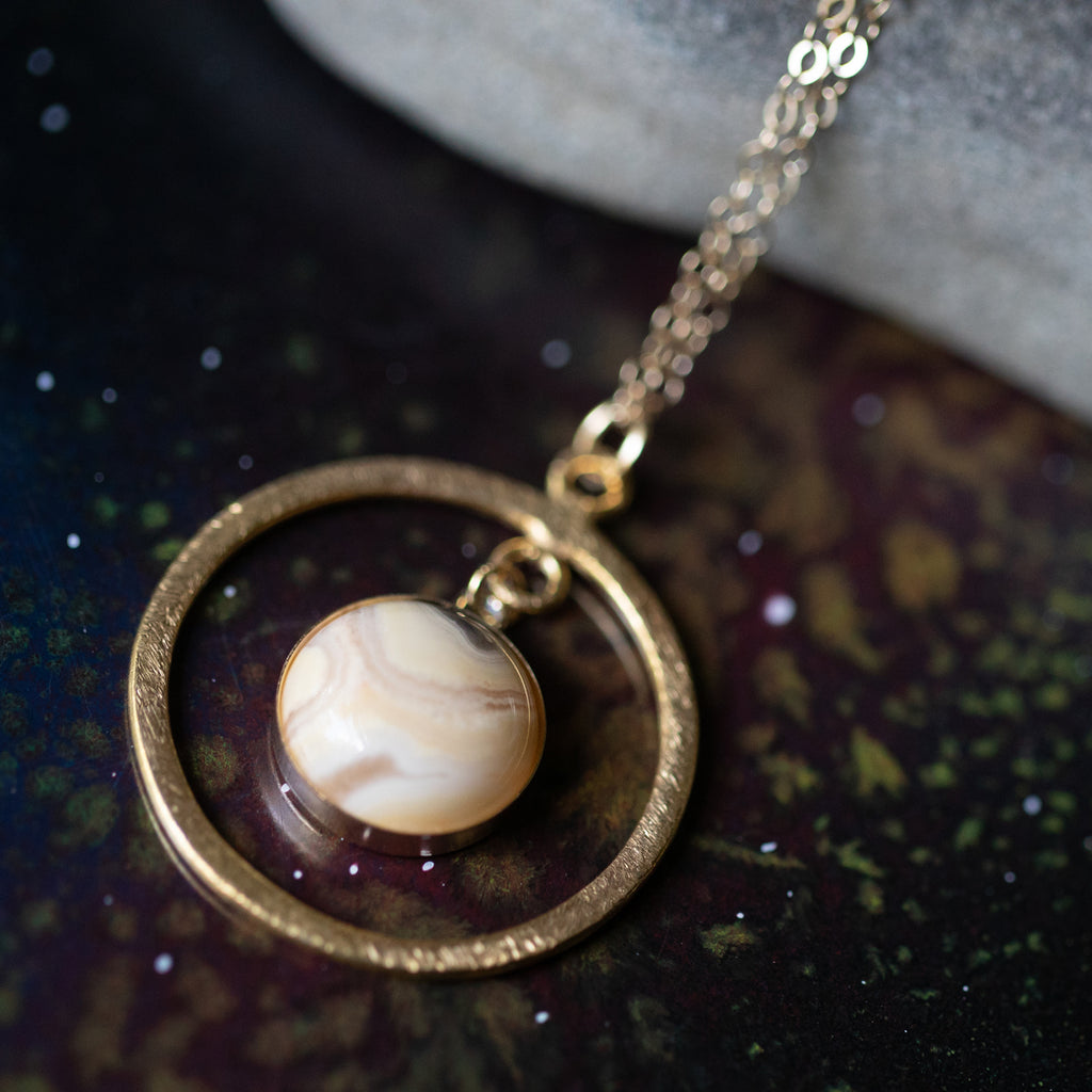 Rings of Saturn Necklace - 14k Gold, Agate, 18k gold - Cassini, Gas Giant, STEM Astrophysics Astrology Space Exploration Jewelry Handmade by Yugen Tribe