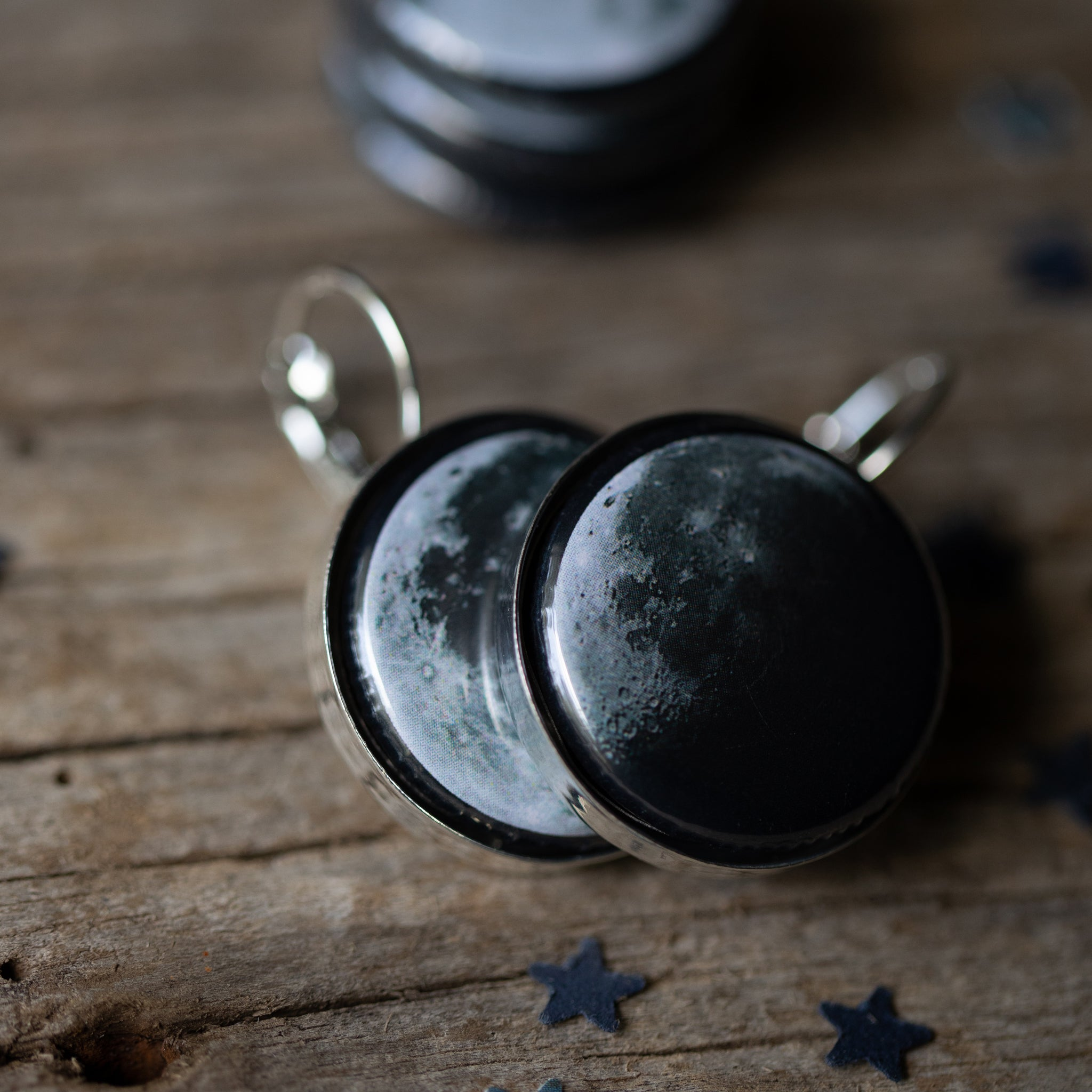 Interchangeable dangle lever back earrings with 5 moon phases - Cosmic lunar moon magnetic galaxy jewellery for STEM fashion by Yugen Tribe - Silver or Bronze Tones Available