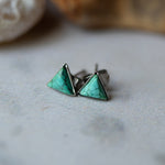 Small tiny petite triangle stud earrings with natural turquoise - December birthstone, minimalist boho jewelry by Yugen Tribe - handmade in USA by women
