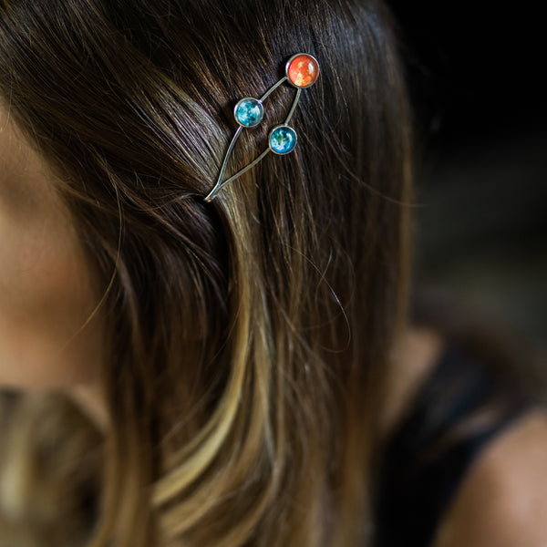 Sun Earth and Moon Hair Clip