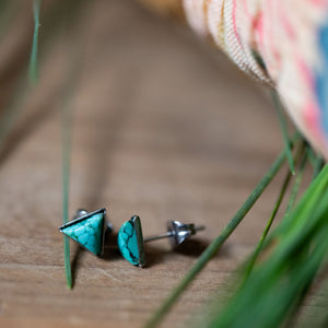 Mountains of Earth Tiny Triangle Turquoise Stud Earrings - Yugen Tribe