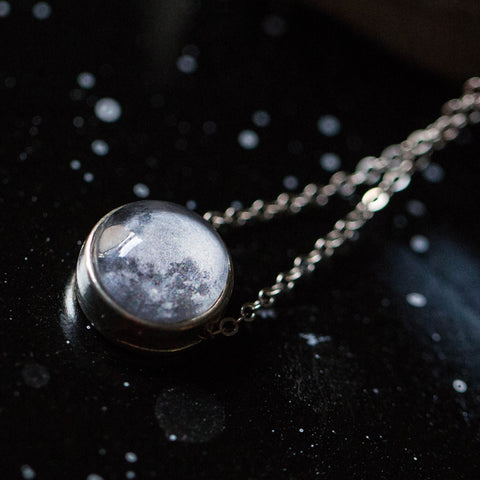 Custom Birth or Anniversary Moon Slide Pendant in Antique Silver or Antique Bronze