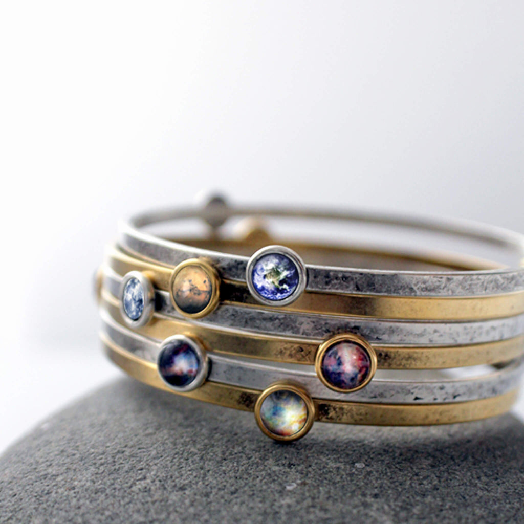 Stacked set of 6 galaxy stacking bangle bracelets in silver and gold - Nebula, Planet, Space Jewelry by Yugen Tribe