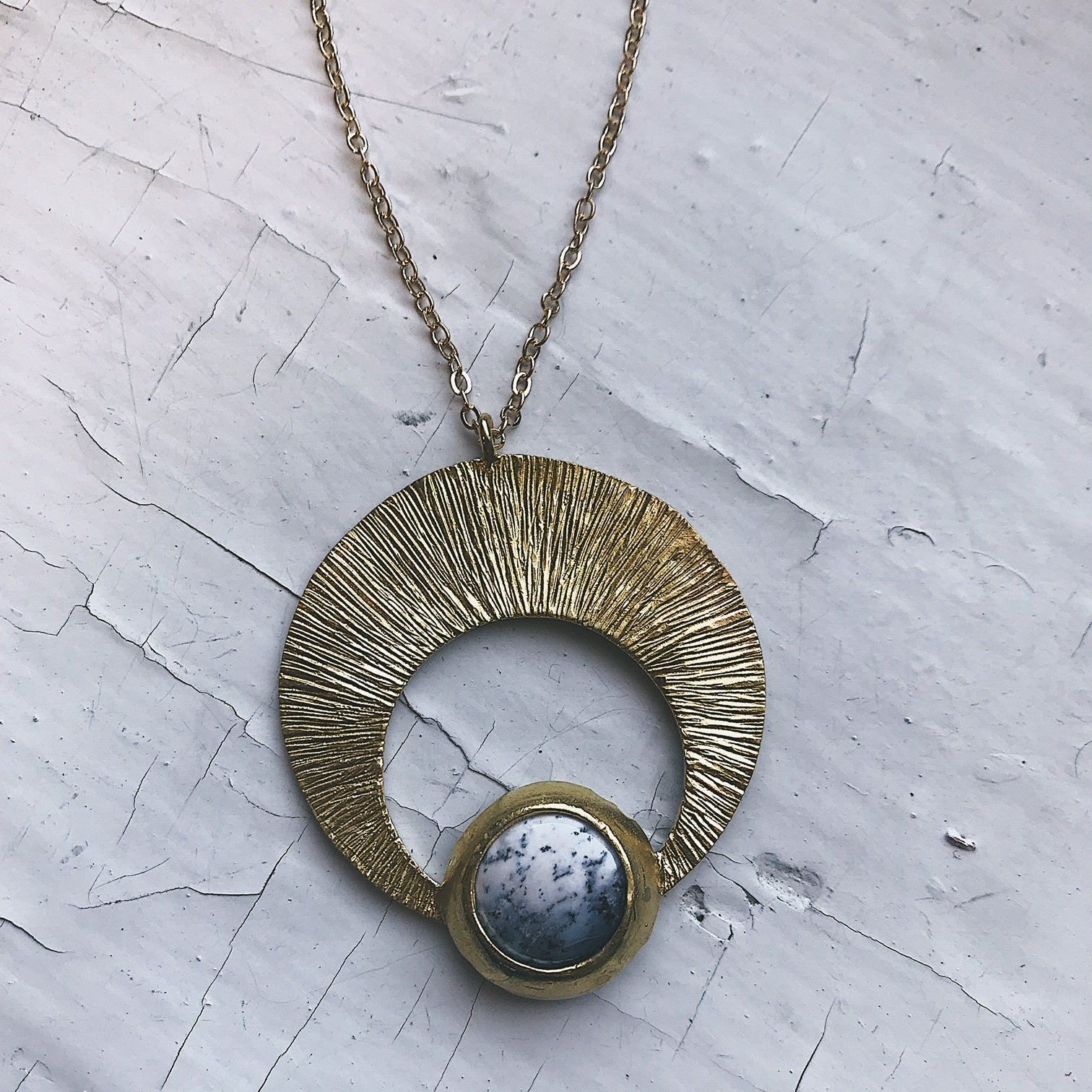 Gold Crescent Moon Pendant - Crescent Shaped Lunar Pendant with Dendritic Agate - Black and White Stone in Raw Brass - Celestial Jewelry by Yugen Tribe