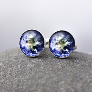 Earth Planetary Galaxy Cufflinks - Customized with your choice of planet, nebula, cosmic body, galaxy - Milky Way, Astronomy STEM Accessories for Men - Handcrafted Jewelry by Yugen Tribe inspired by the Universe