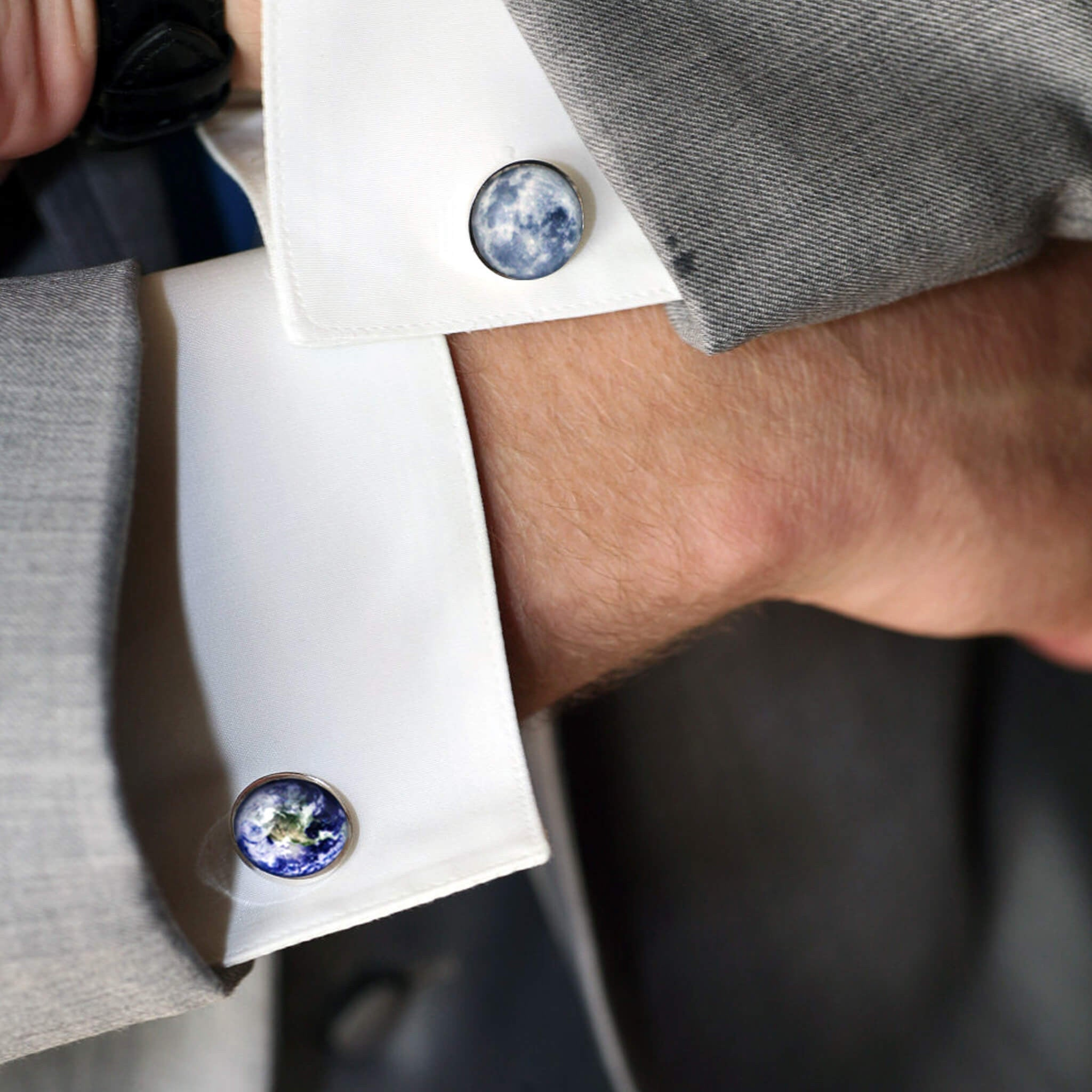 Modeled Earth and Moon Cufflinks - Customized with your choice of planet, nebula, cosmic body, galaxy - Milky Way, Astronomy STEM Accessories for Men - Handcrafted Jewelry by Yugen Tribe inspired by the Universe
