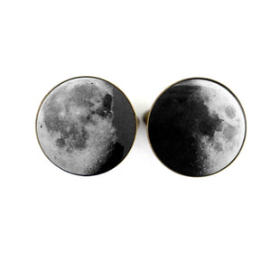 Moon Date Cufflinks - Birth moon, anniversary moon, wedding gift, fathers day present - Handmade lunar moon phase jewelry by yugentribe in bronze or silver