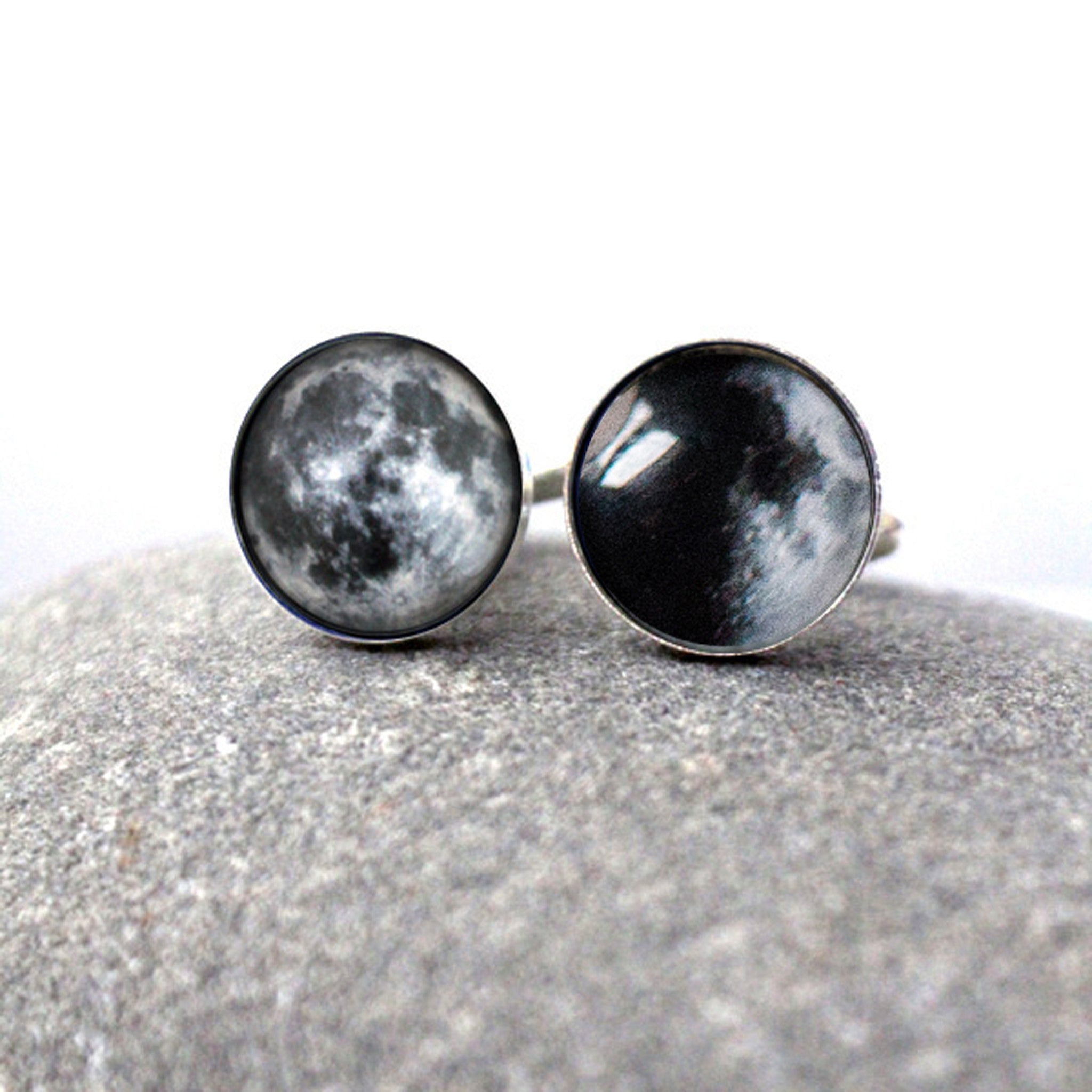 Moon Date Cufflinks - Birth moon, anniversary moon, wedding gift, fathers day present - Handmade lunar moon phase jewelry by yugentribe