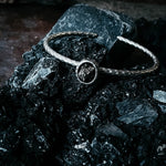 Meteorite Bracelet - Petite Oval Silver Hammered Cuff Bracelet with Campo del Cielo Meteorite