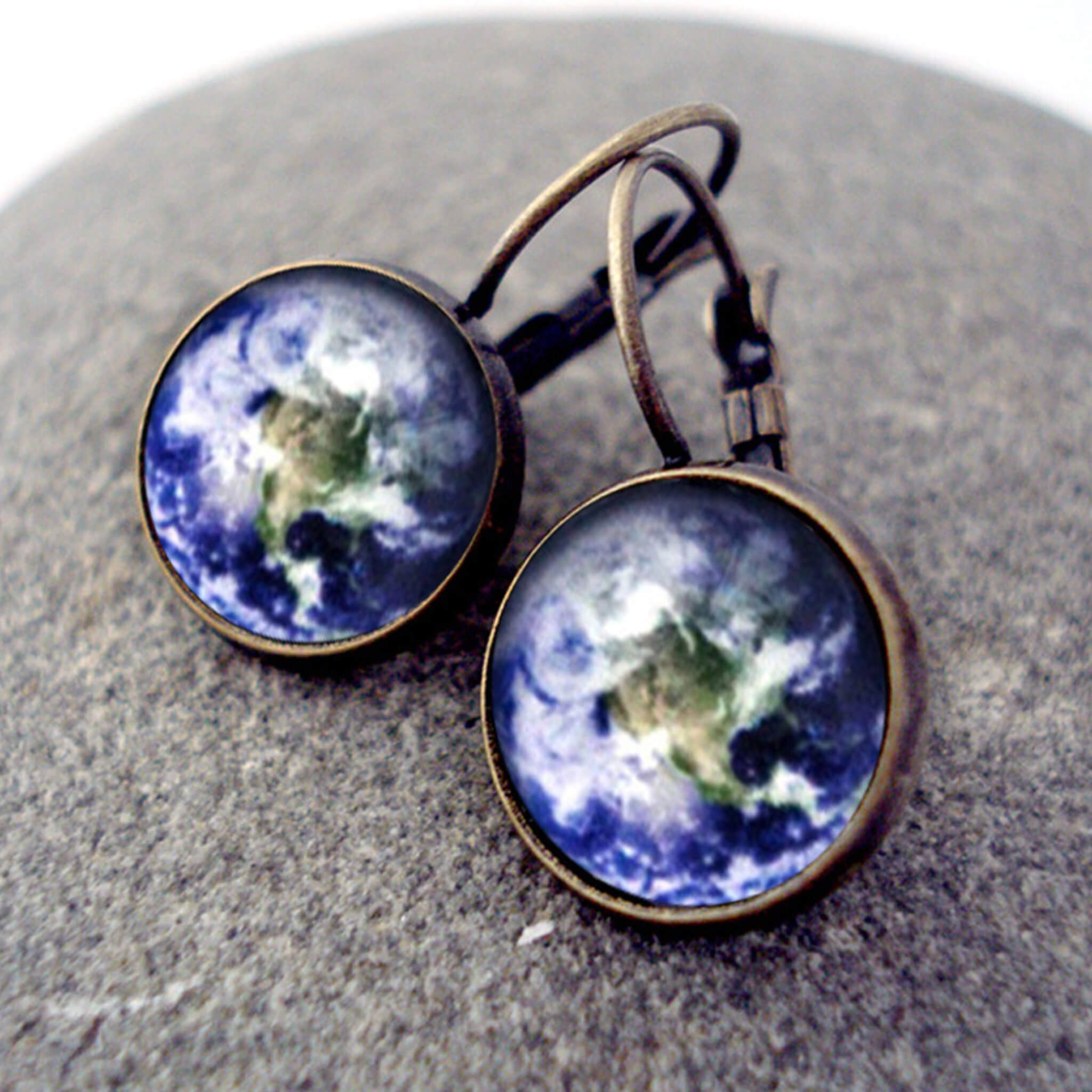 Customizable Outer Space Galaxy Earrings in Antique Bronze with Leverback Closure - Choose your outer space image - Universe Jewelry by YugenTribe