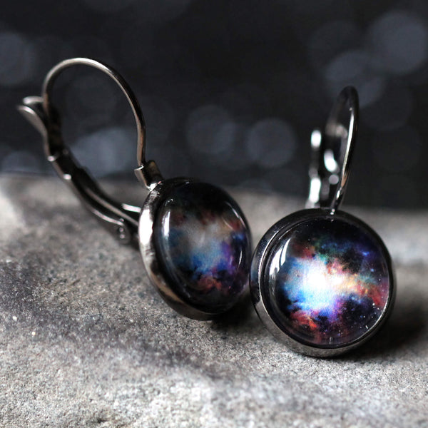 Space Earrings - Dangle, Clip On or Large Stud - Bronze or Gunmetal