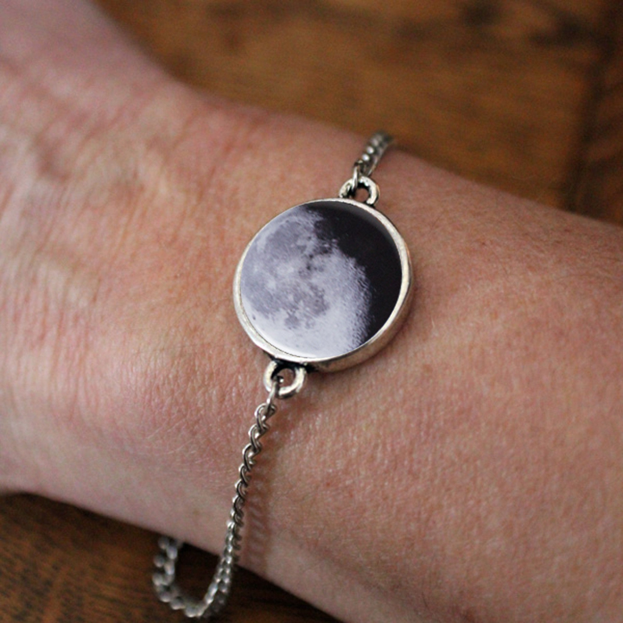 My Moon Custom Antique Silver Adjustable Bracelet - Yugen Tribe
