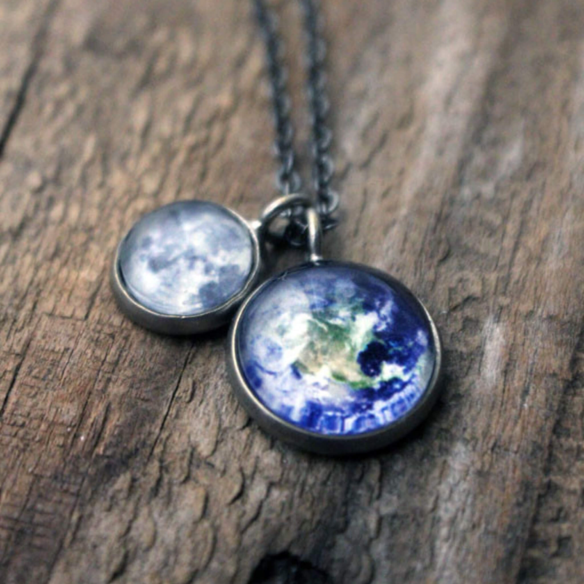 Planet Necklace with Earth and Moon - Handmade Galaxy Jewellery by Lauren Beacham of Yugen Tribe - STEM fashion featuring the solar system