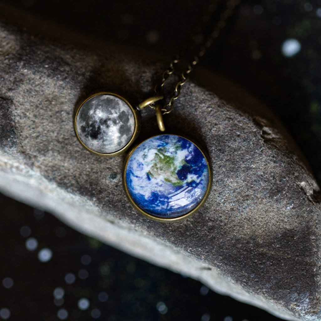 Earth and Moon Layered Space Necklace - Yugen Tribe