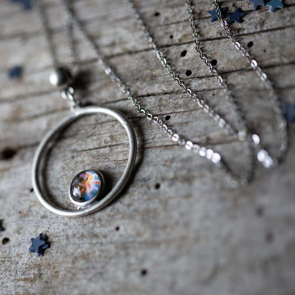 Silver Circle necklace with small galaxy bezel - Choose your image from the cosmos - Planet, sun, moon, galaxy, nebula - Celestial jewelry by Yugen Tribe