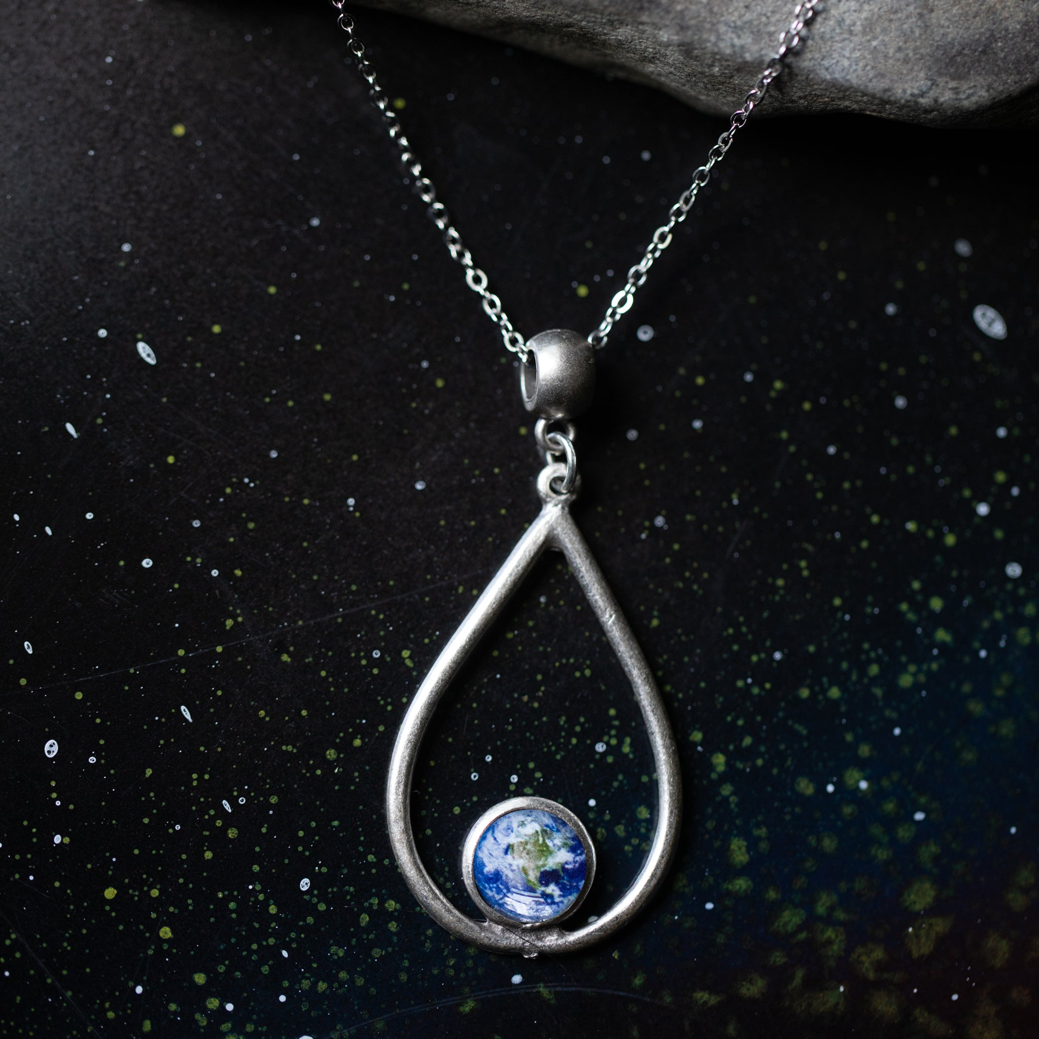 Teardrop necklace with small round custom outer space image - universe jewelry with planet, nebula, galaxy, moon, sun - Handmade by women for STEM astronomy fashion, yugentribe in silver