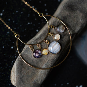 Galilean Moons of Jupiter Statement Pendant Necklace in Gold - Galileo Space Jewelry - Io, Ganymede, Europa, Callisto - Space Exploration Historical Handmade Jewelry by Yugen Tribe
