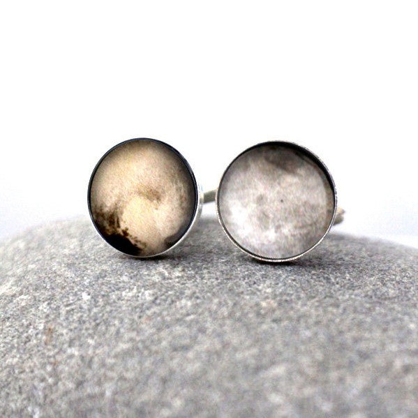 New Horizons Pluto and Charon Cuff Links - Planet Cufflinks, Moon Cuff Links, Mens Celestial Accessories, Galaxy Jewelry by Yugen Tribe