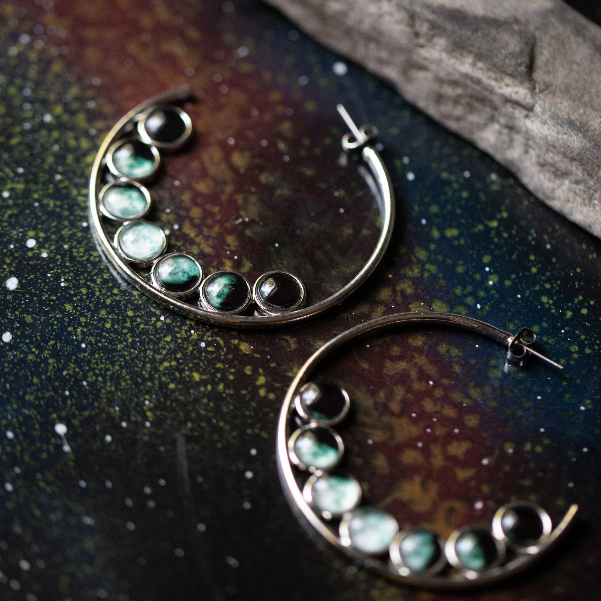 Hoop earrings with 9 phases of the moon - lunar phase jewelry - Silver hoops with moon phases , handmade STEM fashion for scientists and astrophysicists - Astrology jewelry by yugen tribe