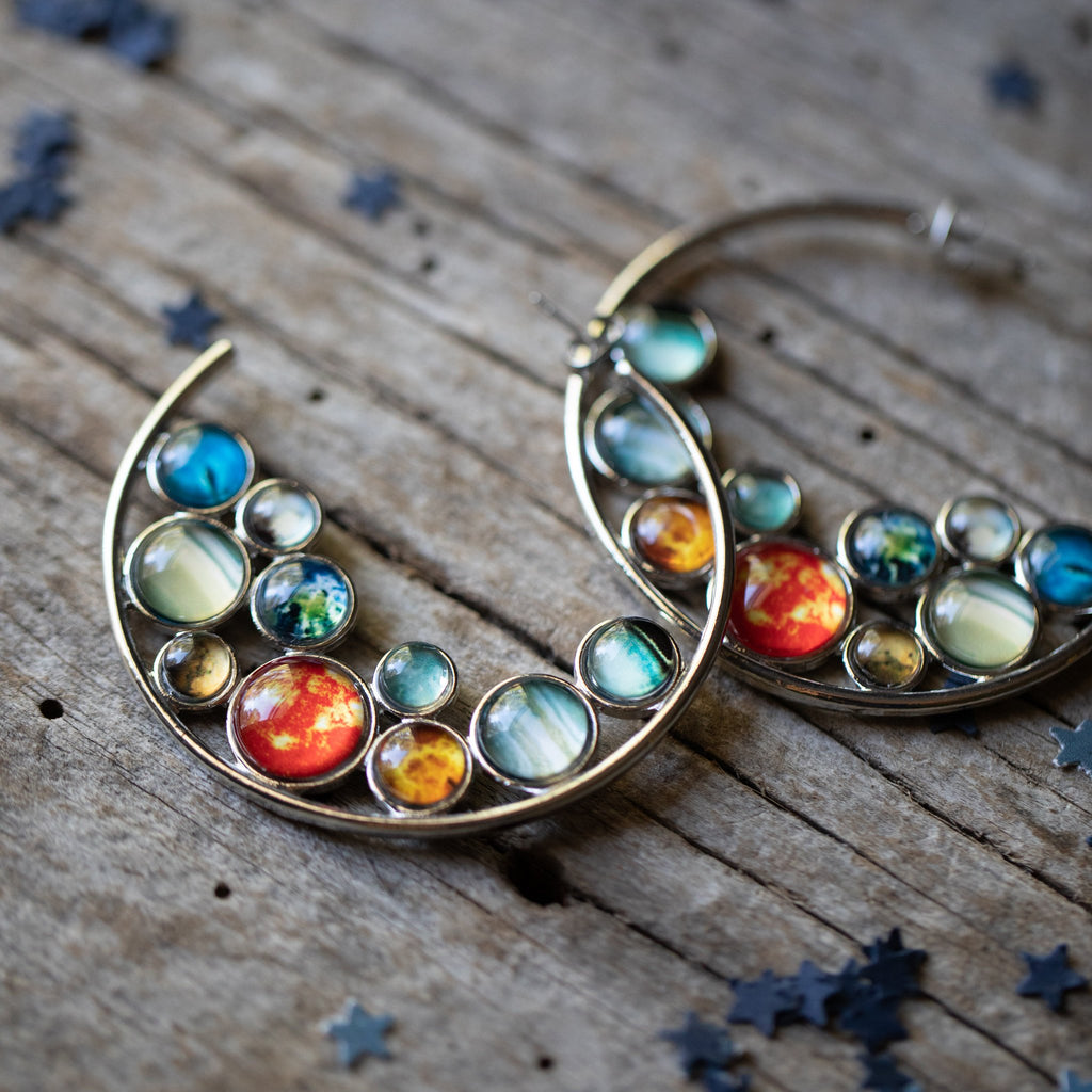 Solar system hoop earrings - Silver bubble hoops with sun, mercury, venus, earth, mars, jupiter, saturn, neptune, uranus, pluto - Planetary outer space universe galaxy handmade jewelry by yugentribe