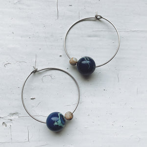 Earth and Moon Jasper Bead Hoop Earrings - Yugen Tribe