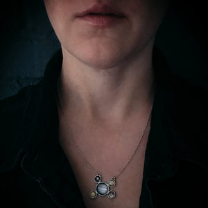 Jupiter and Galilean Moons Silver Pendant Necklace - Yugen Tribe