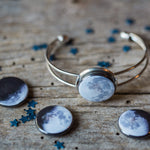 Interchangeable cuff bracelet with 5 moon phases - Cosmic lunar moon magnetic galaxy jewellery for STEM fashion by Yugen Tribe