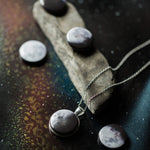 Interchangeable magnetic necklace with 5 different phases of the moon - Handmade outer space galaxy lunar phase jewelry by Yugen Tribe, STEM fashion for women