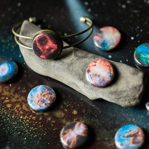 Interchangeable cuff bracelet with various nebula magnets - Cosmic galaxy jewellery for STEM fashion by Yugen Tribe