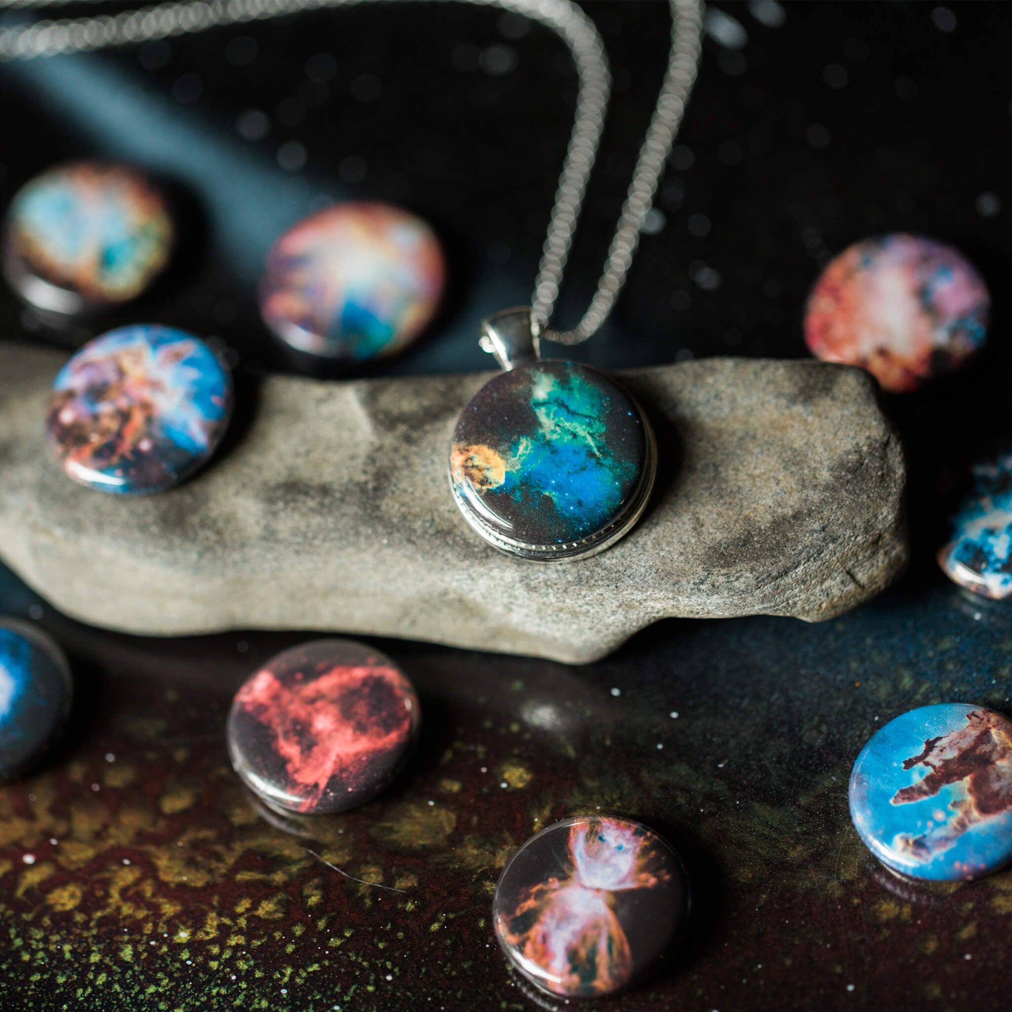 Interchangeable necklace with nebula magnets - 10 Designs in 1 pendant - Handmade STEM Astronomy Galaxy Jewelry by Yugen Tribe
