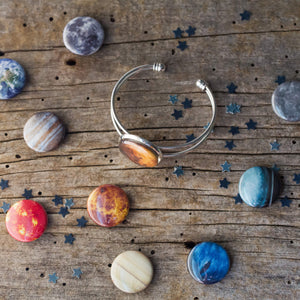 Interchangeable cuff bracelet with solar system magnets - Planets, Earth, Mars, Sun, Moon, Mercury, Venus, Jupiter, Saturn, Uranus, Neptune, Pluto - Cosmic galaxy jewellery by Yugen Tribe