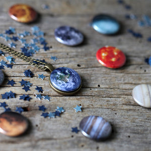 Interchangeable necklace with solar system planet, sun, and moon magnets - 10 Designs in 1 pendant - Handmade STEM Astronomy Galaxy Jewelry by Yugen Tribe